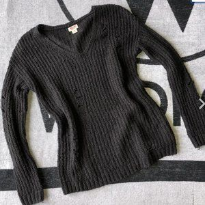 Target Mossimo Sweater Distressed Dark Grey V Neck